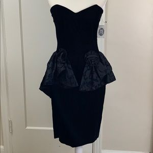 Vintage NWT 80s black velvet floral peplum dress